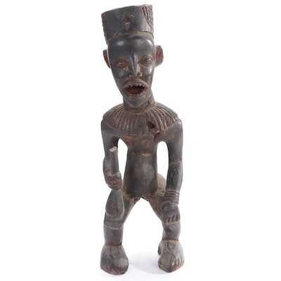 Yombe Style Hand-Carved Wood Figure, Central Africa
