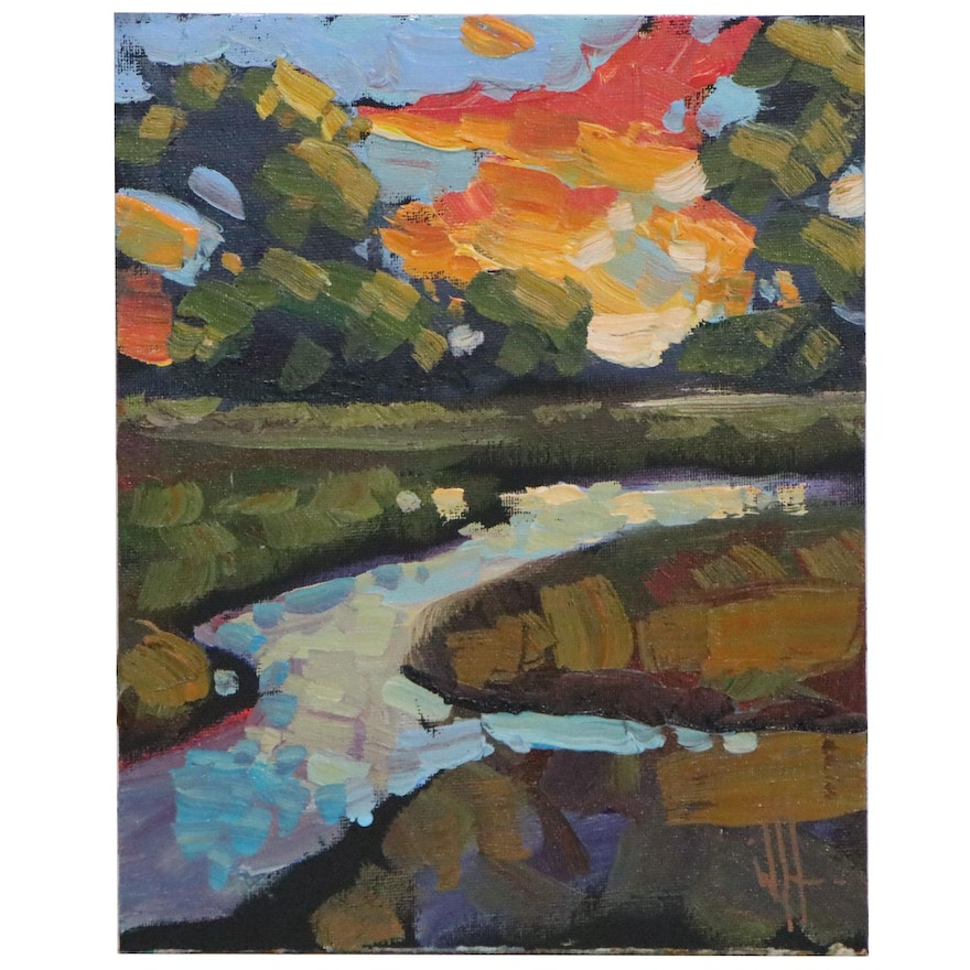 William Hawkins River Landscape Oil Painting, 21st Century