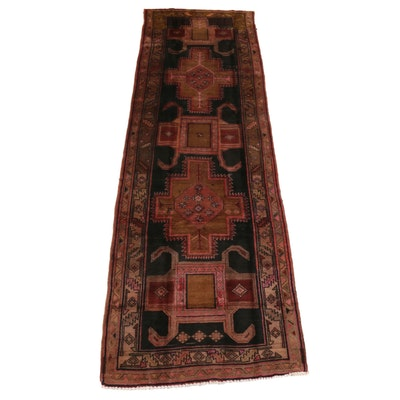 3'9 x 12' Hand-Knotted Persian Hamadan Wool Runner Rug, 1970s