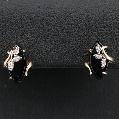 10K Black Onyx and Diamond Stud Earrings