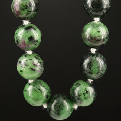 Ruby in Zoisite Beaded Necklace with Sterling Silver Clasp