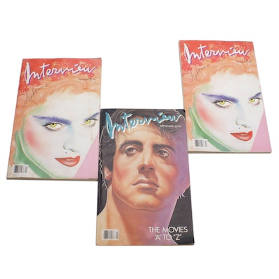 """Andy Warhol """"Interview"""" Magazines Featuring Madonna and Sylvester Stallone"""