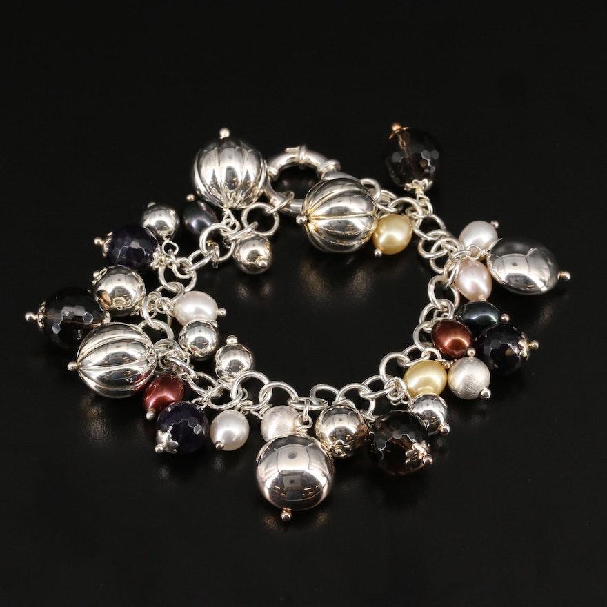 Sterling Smoky Quartz and Pearl Dangle Bracelet