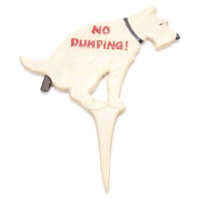 "Painted Cast Iron ""No Dumping"" Dog Yard Sign"