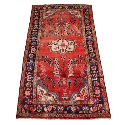 4'10 x 9'4 Hand-Knotted Persian Hamadan Wool Wide Runner Rug