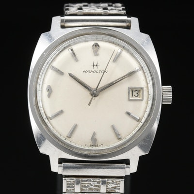 1968 Hamilton Dateline S-576 Stainless Steel Stem Wind Wristwatch