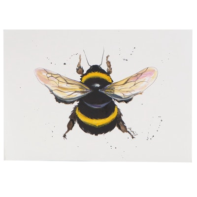 Anne Gorywine Watercolor Painting of a Bumblebee, 2020