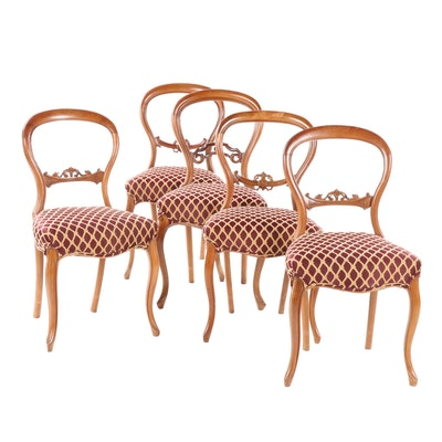 Balloon Back  Walnut Upholstered Side Chairs, Late 19th Century