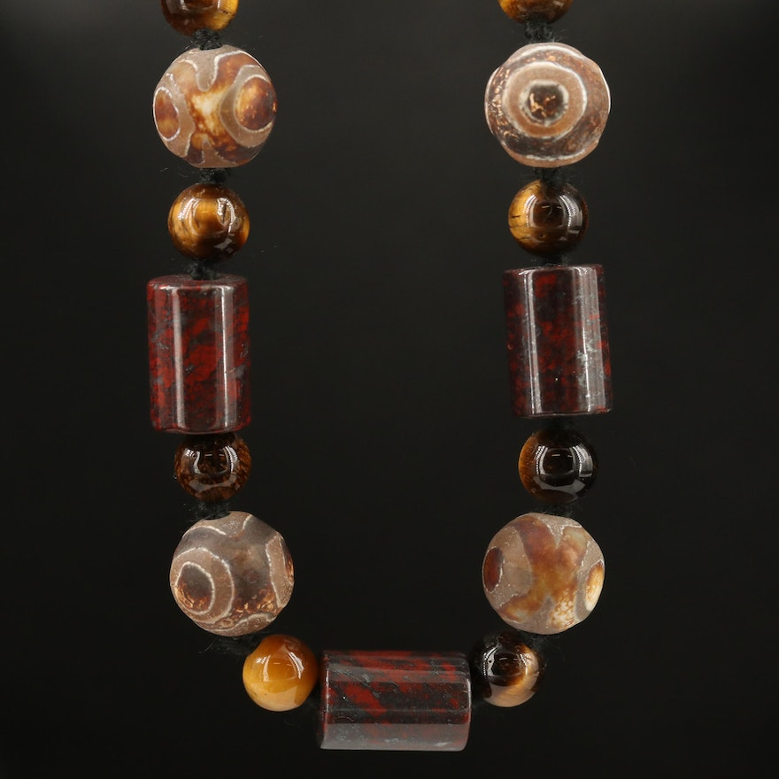 """Picaso"" Agate, Tiger's Eye and Jasper Beaded Necklace with Sterling Clasp"