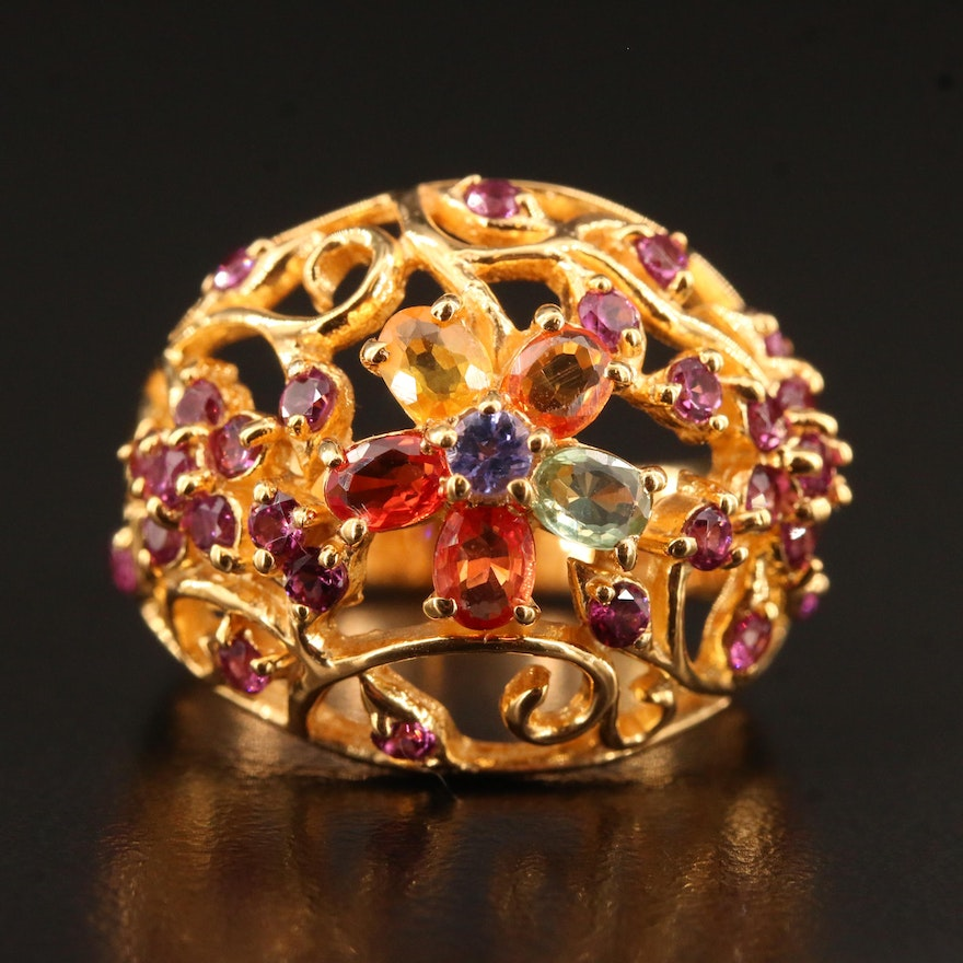 Sterling Tanzanite, Sapphire and Garnet Floral Motif Domed Openwork Ring