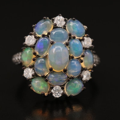 Sterling Silver Opal and Cubic Zirconia