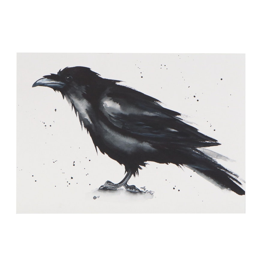 Anne Gorywine Watercolor Painting of a Crow, 2020