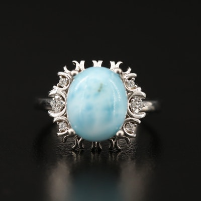 Sterling Silver Larimar and Cubic Zirconia Ring