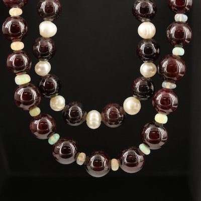 Garnet, Pearl and Opal Beaded Necklaces with Sterling Silver Clasps