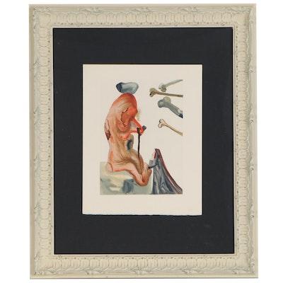 """Salvador Dalí Wood Engraving """"Les Trompeurs"""""""