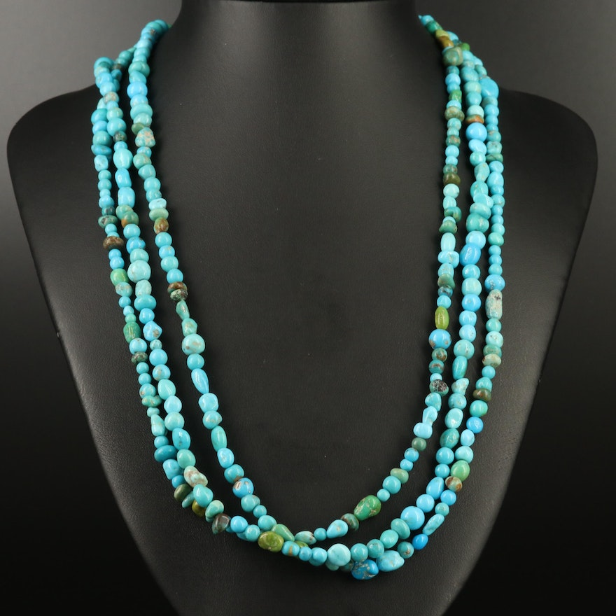 Turquoise Multi Strand Beaded Necklace with Sterling Silver Clasp