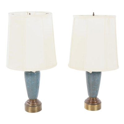 Light Blue Cloisonne Lamps, Mid-20th Century