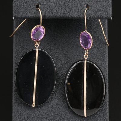 14K Amethyst and Black Onyx Dangle Earrings