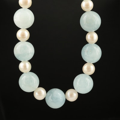 Aquamarine and Pearl Beaded Necklace with Sterling Silver Clasp