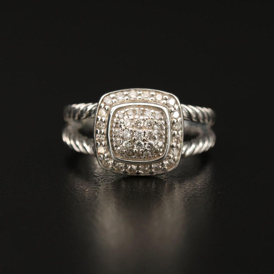 "David Yurman ""Petite Albion"" Sterling Diamond Halo Ring"