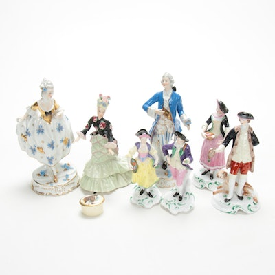 Baroque Style Porcelain Figurines Including Copeland and Lenox