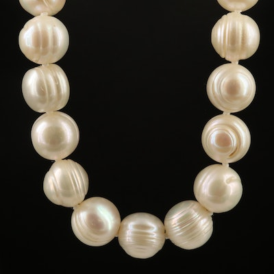 Pearl Knotted Necklace with Sterling Silver Clasp