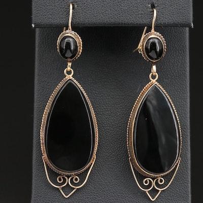 Vintage 14K Black Onyx Openwork Dangle Earrings
