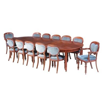 J.K. Rishel Furniture Empire Style Oak and Mahogany Dining Set, Early 20th C.