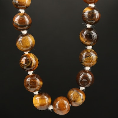 Tiger's Eye Knotted Necklace with Sterling Clasp