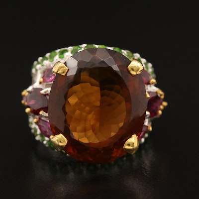 Sterling Silver Citrine, Garnet and Diopside Ring