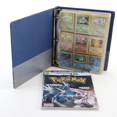 Binder of 1990s Pokémon Cards, Including Japanese Pinsir Holo Card, and Guide