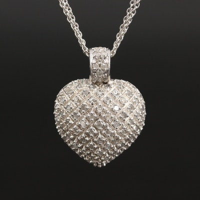 Sterling Diamond Heart Cluster Pendant on Triple Strand Necklace