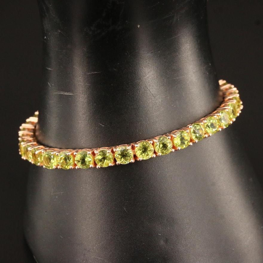 Sterling Silver Peridot Line Bracelet