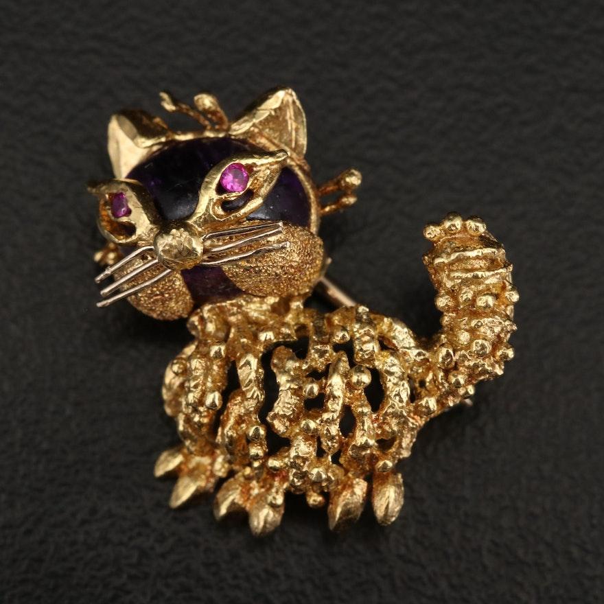 18K Amethyst and Ruby Cat Brooch
