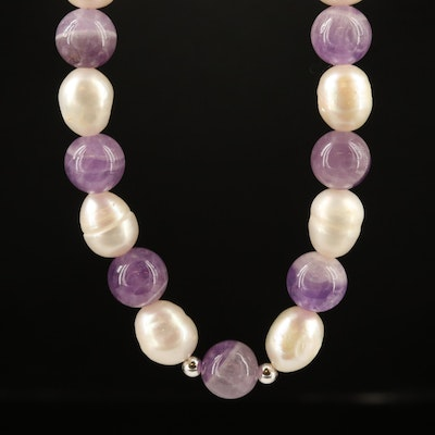 Single Strand Amethyst and Pearl Necklace with Sterling Silver Clasp