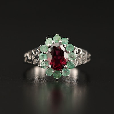 Sterling Silver Rhodolite Garnet and Emerald Openwork Ring
