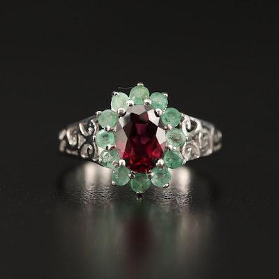 Sterling Silver Rhodolite Garnet and Emerald Openwork Ring