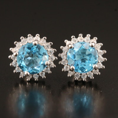 Sterling Silver Topaz and Cubic Zirconia Halo Stud Earrings