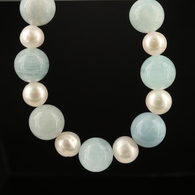 Single Strand Aquamarine and Pearl Necklace with Sterling Clasp