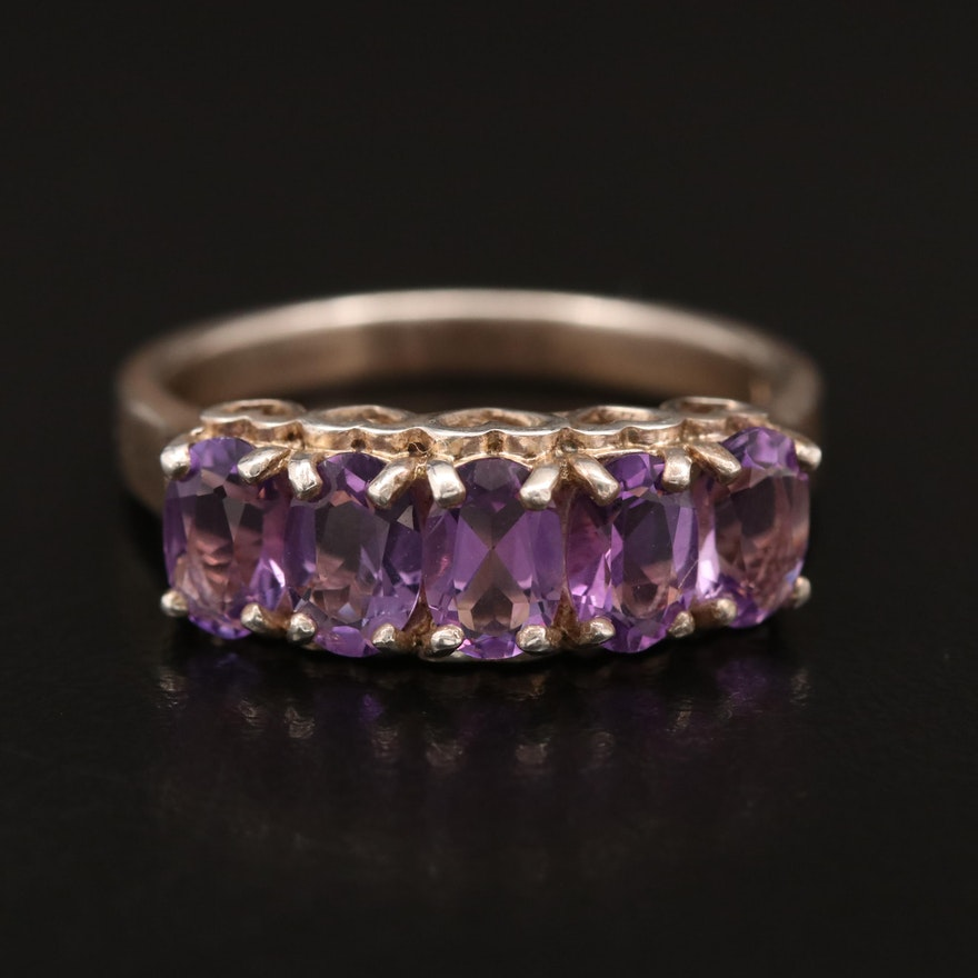Sterling Silver Amethyst Ring with Heart Patterned Gallery