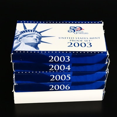 Five US Mint Proof Coin Sets, 2003–2007