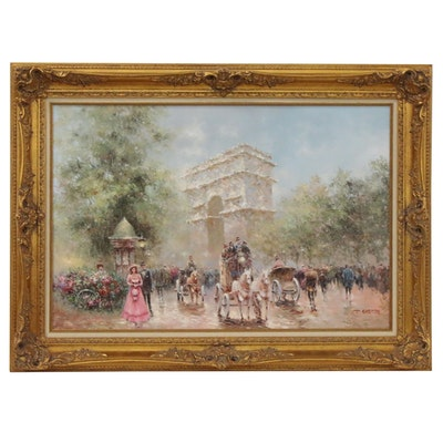 "Johnny Gaston Oil Painting ""Paris Street Scene,"" Late 20th Century"
