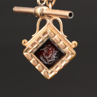Antique Watch Chain with Glass Accented Fob
