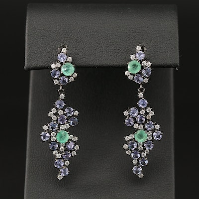 Sterling Silver Emerald, Tanzanite and Cubic Zirconia Dangle Earrings