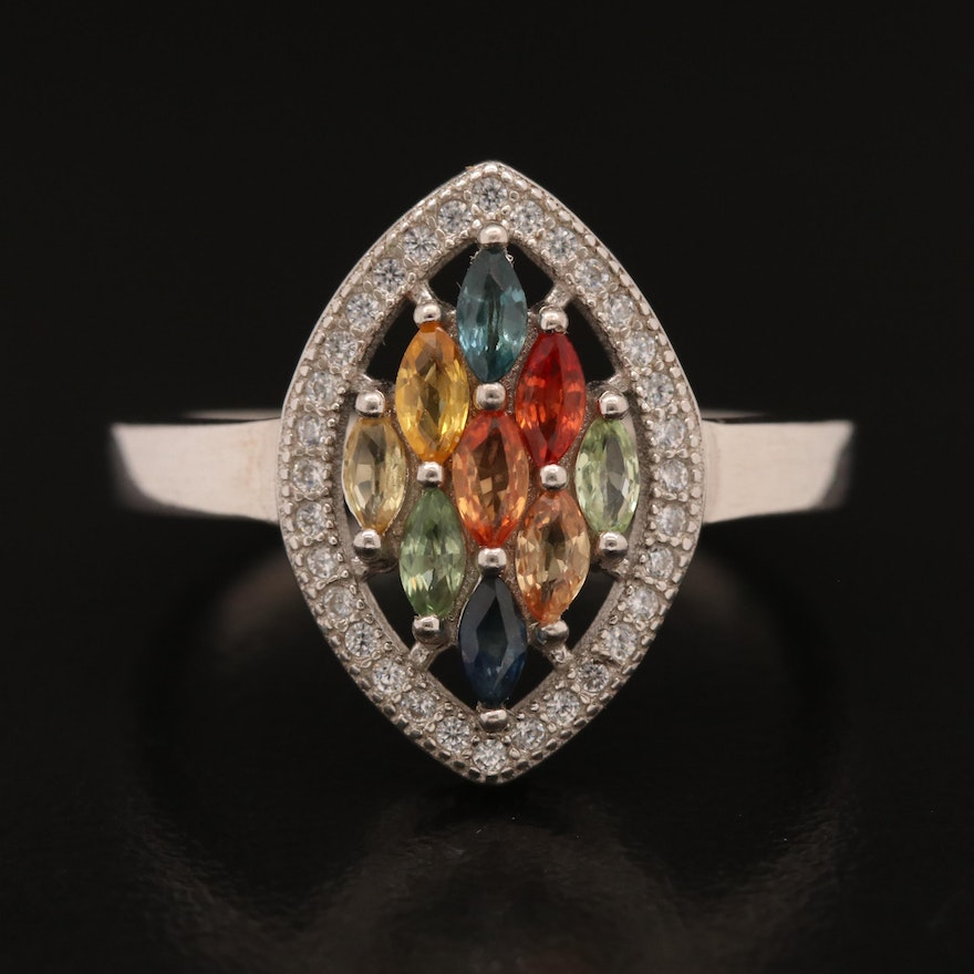 Sterling Silver Sapphire and Cubic Zirconia Navette Cluster Ring