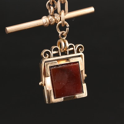 Antique Watch Chain with Carnelian and Black Onyx Mourning Locket