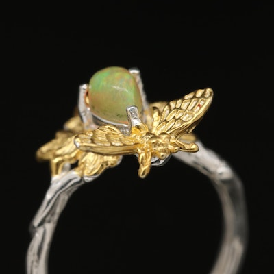 Sterling Silver Opal Insect Motif Ring