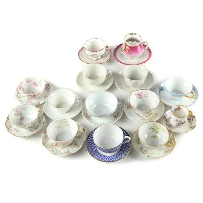 Haviland Limoges, Rörstrand, and Other European Porcelain Teacups and Saucers