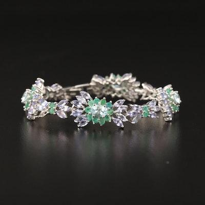 Sterling Silver Aquamarine, Tanzanite and Emerald Cluster Link Bracelet