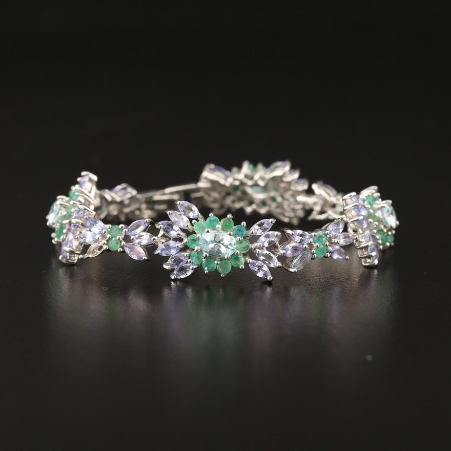 Sterling Silver Aquamarine, Tanzanite and Emerald Cluster Link Bracelet